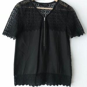 Kooples faded black/gray silk skull top size XS